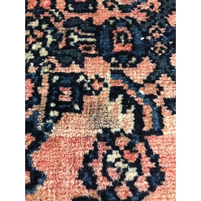 Blush and Navy Persian Rug For Sale - Image 4 of 10