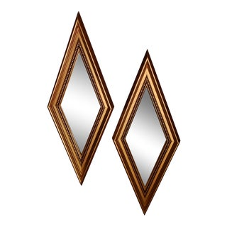Windsor Art Gold Diamond Shaped Mirrors - a Pair For Sale