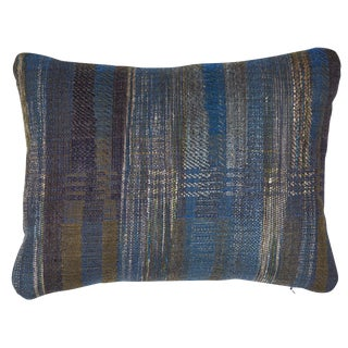 Indian Handwoven Pillow in Midnight Stripes For Sale