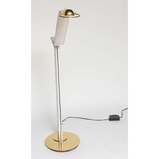 White An Italian Stitched Leather and Gold Plated Floor Lamp For Sale - Image 8 of 11