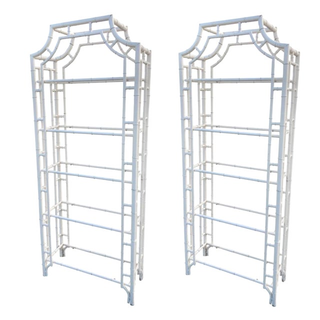 Restored Chippendale Bamboo Pagoda Shelves Étagères - a Pair For Sale
