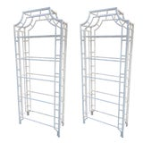 Image of Restored Chippendale Metal Bamboo Pagoda Shelves Étagères - a Pair For Sale