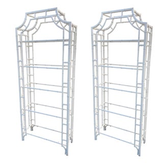 Restored Chippendale Metal Bamboo Pagoda Shelves Étagères - a Pair For Sale