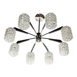 Mid-Century Modernist Eight-Arm Chandelier with Deep Faceted Glass Shades For Sale