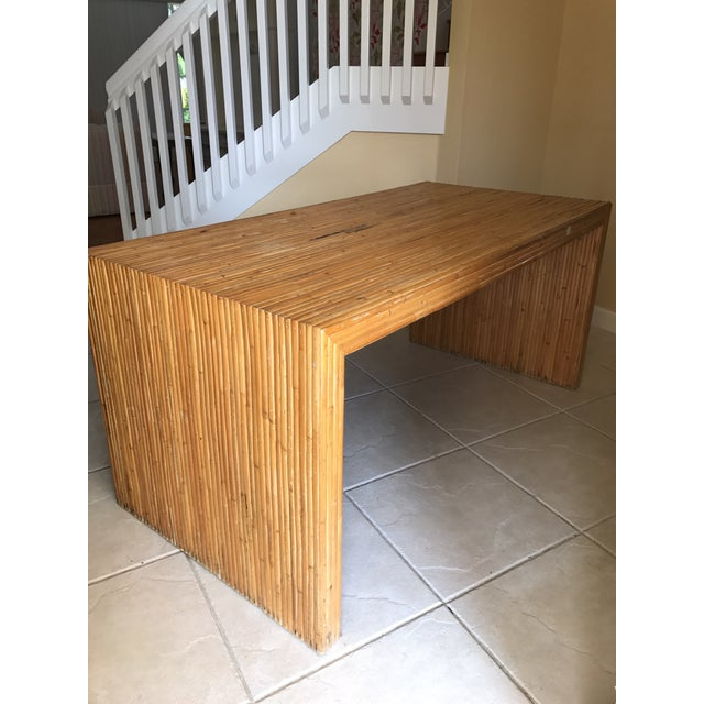 Boho Chic Vintage Pencil Reed Bamboo Waterfall Dining Table or Desk For Sale - Image 3 of 9
