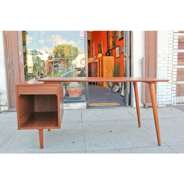 Mid-Century Style Walnut Desk For Sale - Image 13 of 13