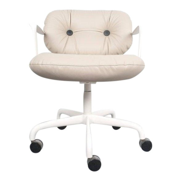 Andrew Morrison and Bruce Hannah for Knoll Office Chair Beige Leather, 1975 For Sale