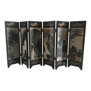 Asian Double-Sided Lacquered Tabletop Screen For Sale