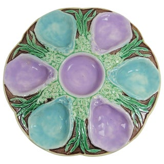19th Century Victorian Majolica Turquoise and Pink Oyster Plate For Sale