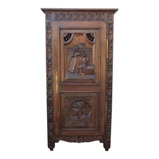 Late 19th Century Antique French Breton Cabinet For Sale