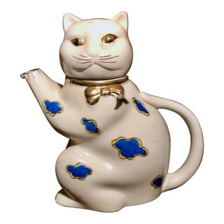 1950's Gold Castle Chikusa Japan Hand Painted White and Gilded Gold Trimming Cat Teapot For Sale