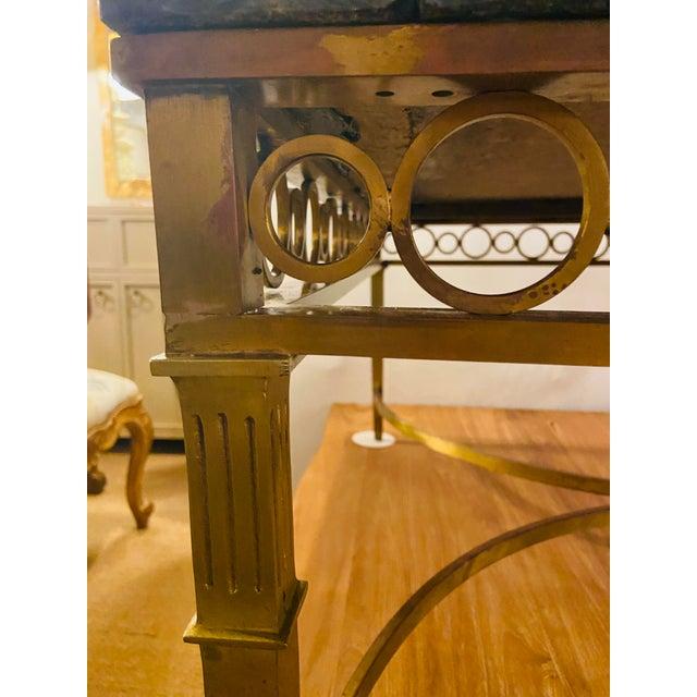 Hollywood Regency Granite Top on Brass Base Center Table For Sale - Image 4 of 13