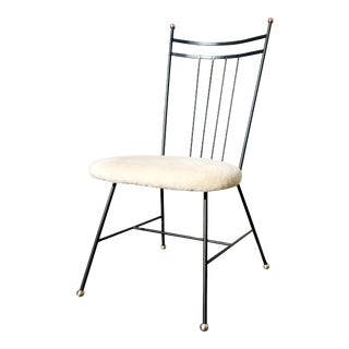 A Mid-Century Modern Iron / Wire High Back Single Chair For Sale
