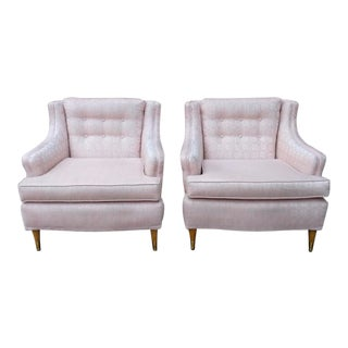 Mid-Century Modern Pink & Blonde Upholstered Arm Chairs- A Pair