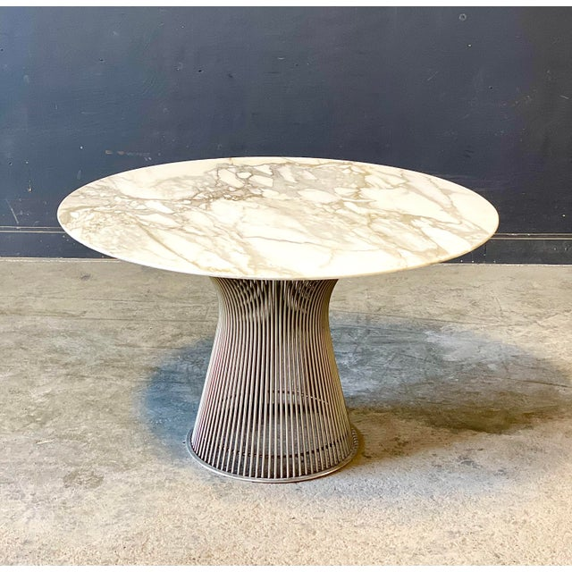 Chrome and Marble Round Table Designed by Warren Platner for Knoll. For Sale - Image 13 of 13