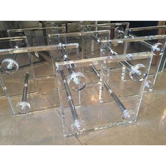 Hollywood Regency Lucite and Chrome Coffee Cocktail Table - Image 3 of 12