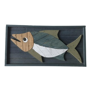 Vintage Hand Made Wooden Fish Hanging For Sale