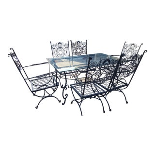 1970s Mid-Century Modern Wrought Iron Patio Set - 8 Pieces For Sale