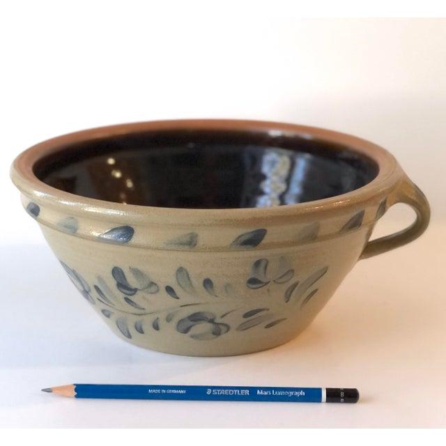 Farmhouse Farmhouse Style Salt Glazed Mixing Bowl With Handle - Vintage For Sale - Image 3 of 12