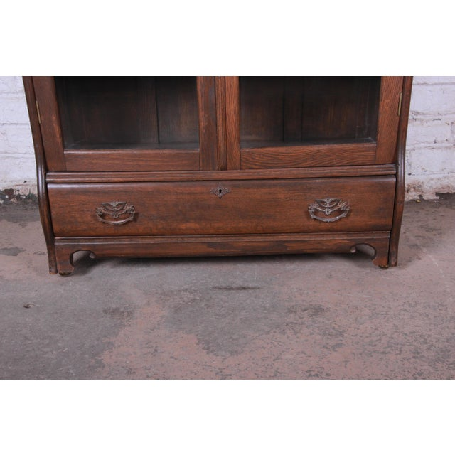 Wood Antique Carved Oak Glass Front Locking Bookcase For Sale - Image 7 of 13