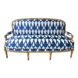 Image of 1930's Vintage Settee in Graphic Print For Sale