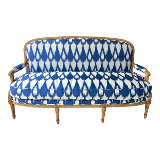1930's Vintage Settee in Graphic Print For Sale