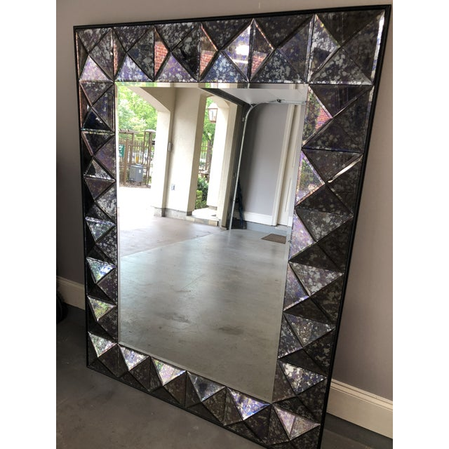 Transitional Vintage Purple Faceted Frame Oversize Mirror For Sale - Image 3 of 9