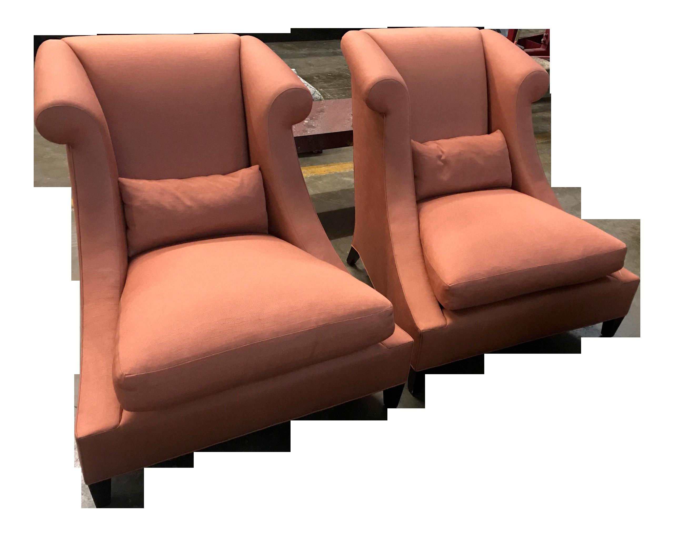 Baker Furniture Villa Club Chairs By Thomas Pheasant   A Pair