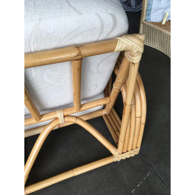 White Restored Paul Lazslo Rattan Four Strand Sectional Settee Sofa For Sale - Image 8 of 9