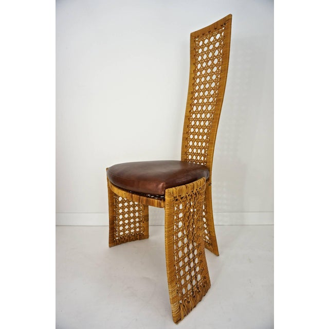 Wood Italian Rattan Dining Chairs With French Caning by Vivai Del Sud - Set of 8 For Sale - Image 7 of 11