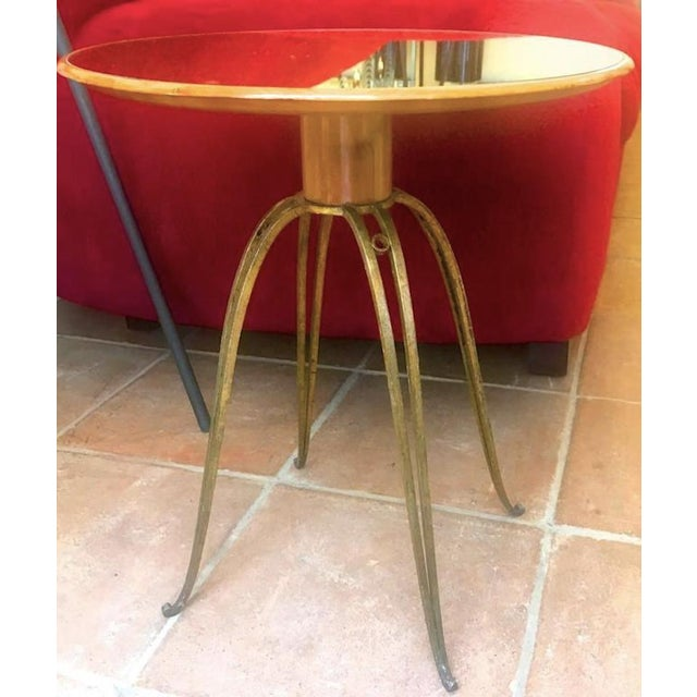 Gold Rene Prou Rare Refined Pair of Side Table in Sycamore and Gold Leaf Wrought Iron For Sale - Image 8 of 9