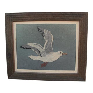 Framed Crewelwork Needlepoint Seagull For Sale