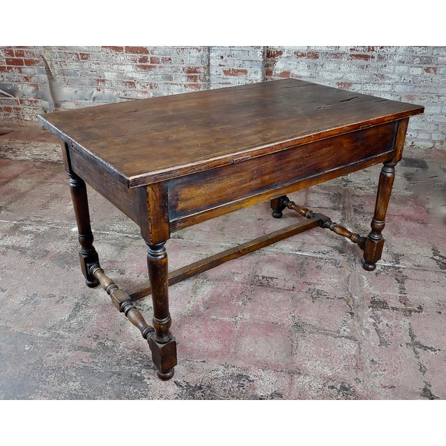 Spanish Revival Two Drawer Writing / Dining Table For Sale In Los Angeles - Image 6 of 10