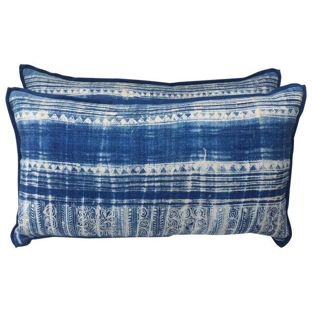 Blue & White Batik Cotton Pillows - Pair - Image 1 of 5