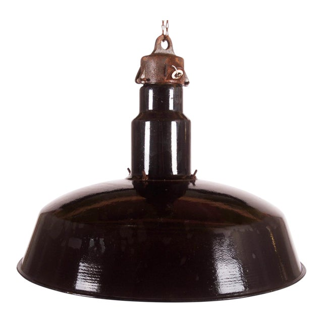 Large Enameled Czech Industrial Ceiling Lamp, 1960s For Sale