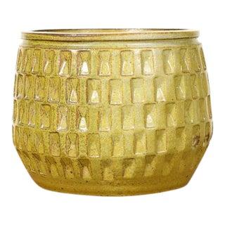 Christian Boehr Ceramic Stoneware Planter — Small Weave Pattern — Tea Green Glaze — P28 For Sale