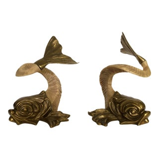 Vintage Chapman Brass and Horn Koi Fish-A Pair For Sale
