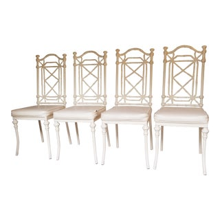 1960s Vintage Kessler Industry Bamboo Hollywood Regency Chairs - Set of 4 For Sale