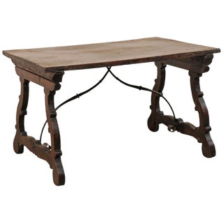 18th Century Italian Wood Trestle Table With Iron Stretcher For Sale