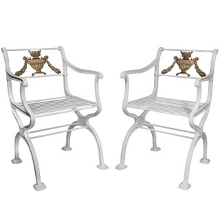 Pair of American Cast Iron Garden Chairs by w.a Snow, Boston For Sale