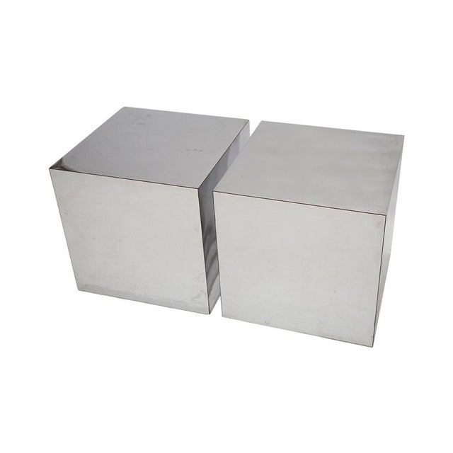 Chrome PAIR OF CHROME CUBES ATTRIBUTED TO PAUL EVANS For Sale - Image 7 of 7