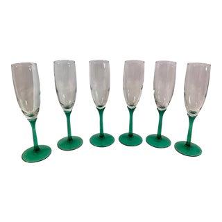 Green Stem Champagne Flutes - Set of 6