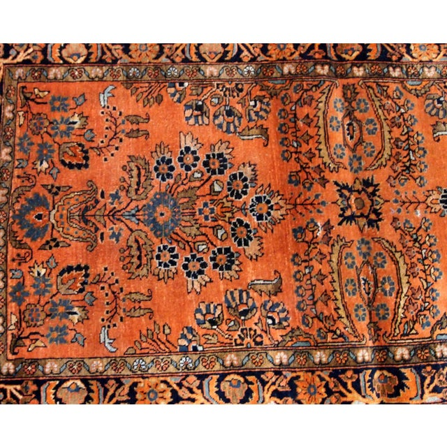 Early 20th Century 1920s Handmade Antique Persian Sarouk Rug 2.1' X 3.10' For Sale - Image 5 of 9