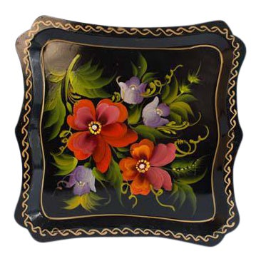 Hand Painted Enamel Tray For Sale