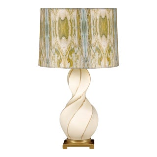 Cream and Gold 'Curves' Lamp with Green Printed Shade For Sale