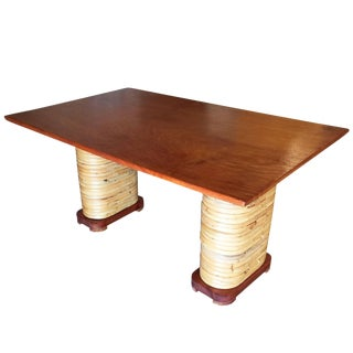 Restored Mid-Century Rattan and Double Mahogany Dining Table With Stacked Base For Sale