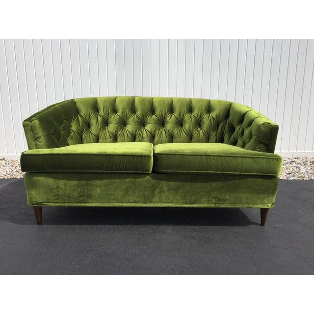 Admirable Vintage Citation By Kroehler Green Velvet Loveseat Creativecarmelina Interior Chair Design Creativecarmelinacom