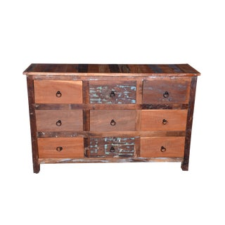 Rustic Nine Drawer Recycle Wood Chest For Sale