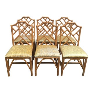 Chinese Chippendale Bamboo Chairs - Set of 6 For Sale