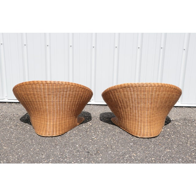 Mid-Century Modern Wicker Low Lounge Chairs - a Pair For Sale - Image 3 of 13